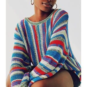 NWT UO 90s Rainbow Vertical Striped Sweater